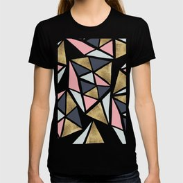 Modern geometrical pink navy blue gold triangles pattern T-shirt
