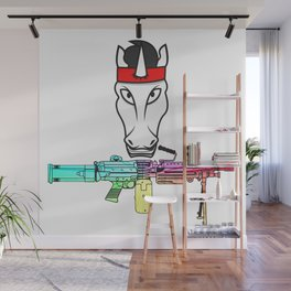 Unicorn muscles weapon fighter soldier shooting rainbow army gift Wall Mural