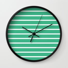 Horizontal Lines (White/Mint) Wall Clock