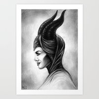 maleficent Art Prints featuring Maleficent  by Denda Reloaded