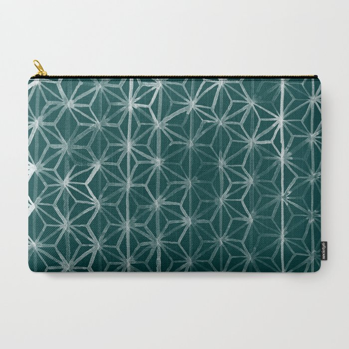 Japanese_Geometry__Emerald_CarryAll_Pouch_by_michiko_design__Large_125_x_85