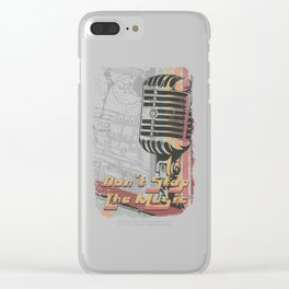 Retro Microphone - Don't Stop The Music Clear iPhone Case