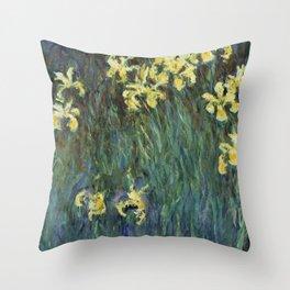 "Claude Monet ""Yellow irises"" Throw Pillow"
