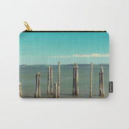 Washington Coast Willapa Bay Pilings Pier Nautical Water Ocean Beach Northwest Landscape Fishing Carry-All Pouch