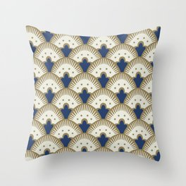 Fan Pattern Blue/Gold Throw Pillow
