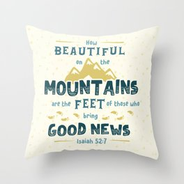 """""""How Beautiful on the Mountains"""" Hand-Lettered Bible Verse Throw Pillow"""
