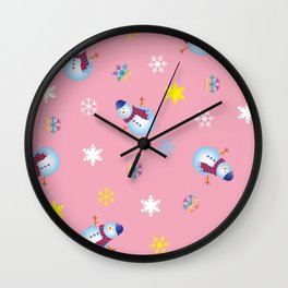 Snowflakes & Snowman_B Wall Clock