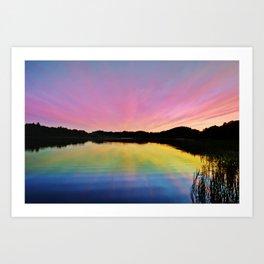Pastel Rainbow Sunset Lake Art Print