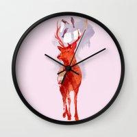 deer Wall Clocks featuring Useless Deer by Robert Farkas