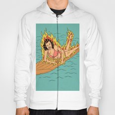 Flaming Surfer Girl Hoody