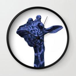 blue giraffe 2 white Wall Clock