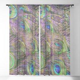 art nouveau bohemian turquoise purple teal green peacock feather Sheer Curtain
