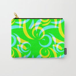 Pattern of yellow and blue doodles and curls in floral ornament in ethnic style on a green backgroun Carry-All Pouch