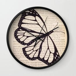 Butterfly in a Book Wall Clock