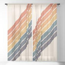 Arida -  70s Summer Style Retro Stripes Sheer Curtain