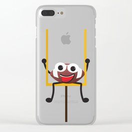 Cute Smiling Football ball Clear iPhone Case