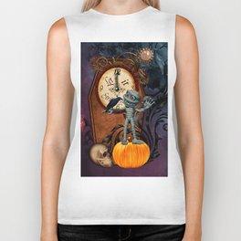 Funny mummy with skulls, crow and pumpkin Biker Tank
