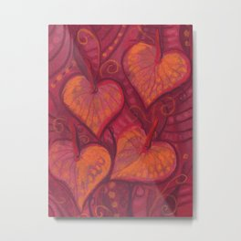 Hearty Flowers / Anthurium, pink, red & orange Metal Print