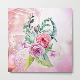 Flowers and leaves in soft purple colors Metal Print