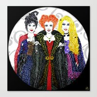hocus pocus Canvas Prints featuring Hocus Pocus by The Curly Whirl Girly.