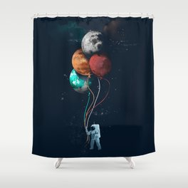 Balloon astronauts and planet Shower Curtain