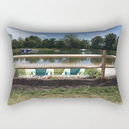Sunny Lake Beach Rectangular Pillow