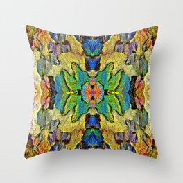 Colorful  Nature Wood Pattern Psychedelic Art Throw Pillow