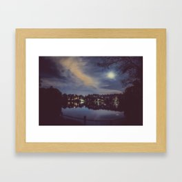 Hampstead Heath Lake at Night Framed Art Print