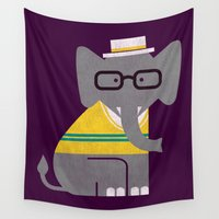 preppy Wall Tapestries featuring Rodney the preppy elephant by Picomodi