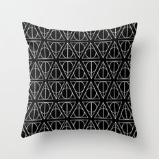 Hand Drawn Deathly Hallows // white  Throw Pillow