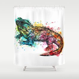 Colourful Tuatara Shower Curtain