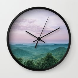 Pink Sunset over the Blue Ridge Mountains Wall Clock