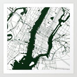 New York City White on Green Street Map Art Print