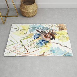 Sparrow, bird and flowers vintage style watercolor design sparrow Rug