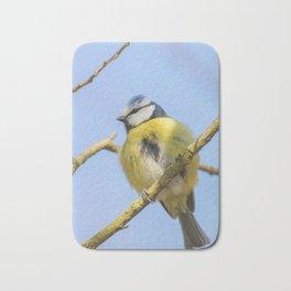 Blue tit on branch, Eurasian blue tit, (Cyanistes caeruleus) Cute little Bird Bath Mat