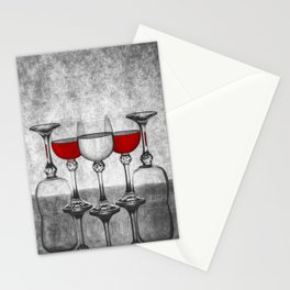 Still life with glass glasses with wine Stationery Cards