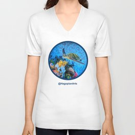 Eco Mural Project 1: Kauai Coral Reef Life Unisex V-Neck