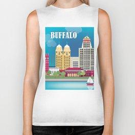 Buffalo, New York - Skyline Illustration by Loose Petals Biker Tank