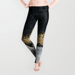 Abstracy luxury black gold marble texture Leggings