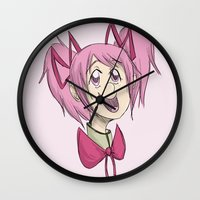 madoka Wall Clocks featuring Madoka the Magical Girl by Michelle Rakar