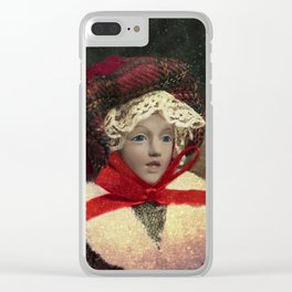 Red hat vintage Christmas doll Clear iPhone Case