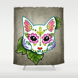 White Cat - Day of the Dead Sugar Skull Kitty Shower Curtain
