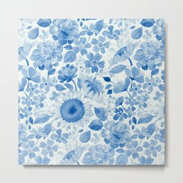 Denim Blue Monochrome Retro Floral Metal Print