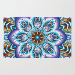 Fantasy flower in purple and blue Rug