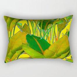 GOLDEN TROPICAL FOLIAGE GREEN & GOLD LEAVES AR Rectangular Pillow