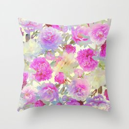 soft peonies Throw Pillow