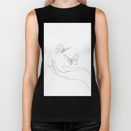Butterflies on the Palm of the Hand Biker Tank