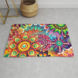 Psychedelic Colorful Bloom Rug
