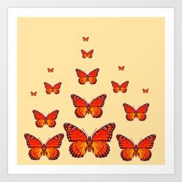 ORANGE MONARCH BUTTERFLIES CREAMY YELLOW Art Print
