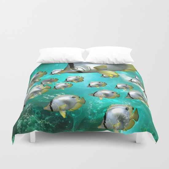 Wonderful butterflyfish  Duvet Cover
